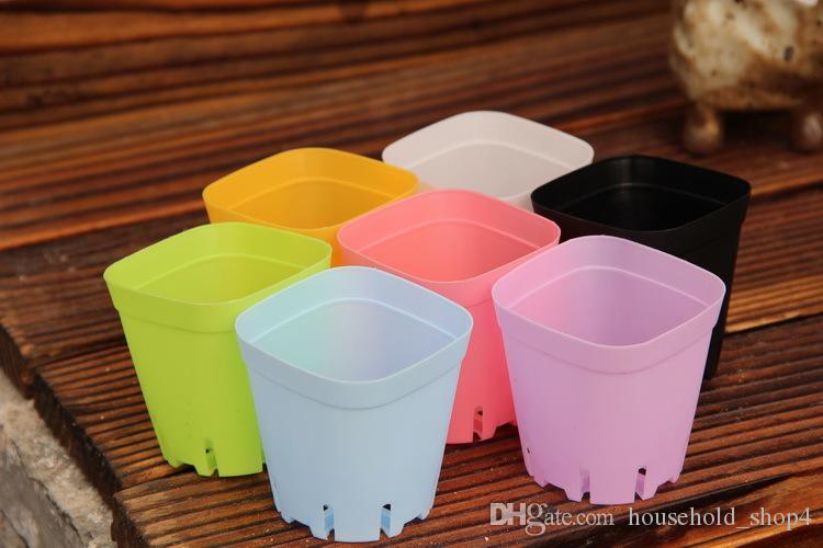 7*7cm Flower Pots Plastic Pots Succulent planters for garden Creative Small Square Pots for Succulent plants random color
