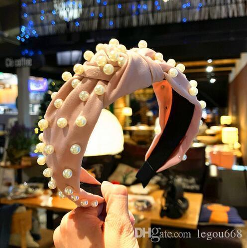 2019 Perla Diadema de Coral Sólido Tela Anudada banda para el cabello para Mujeres Moda Estilo Coreano Mujeres Accesorios Vintage Perla Hairband GB759
