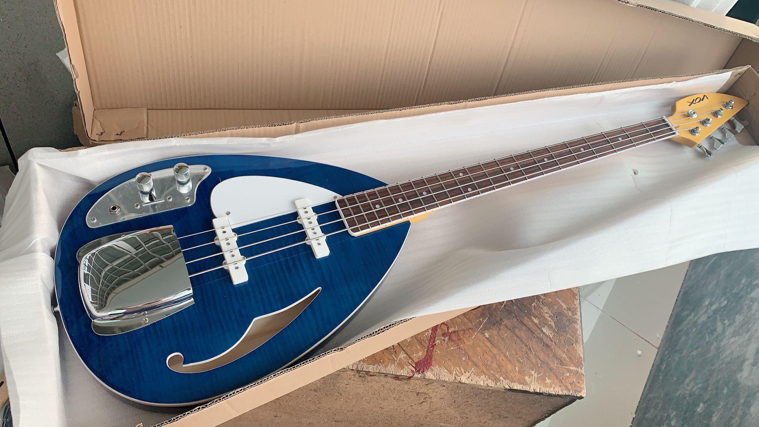 왼손잡이 4 현베이스 VOX 블루 반 중공 바디 왼손잡이 일렉트릭 기타 BASS F 구멍 본체 크롬 하드웨어