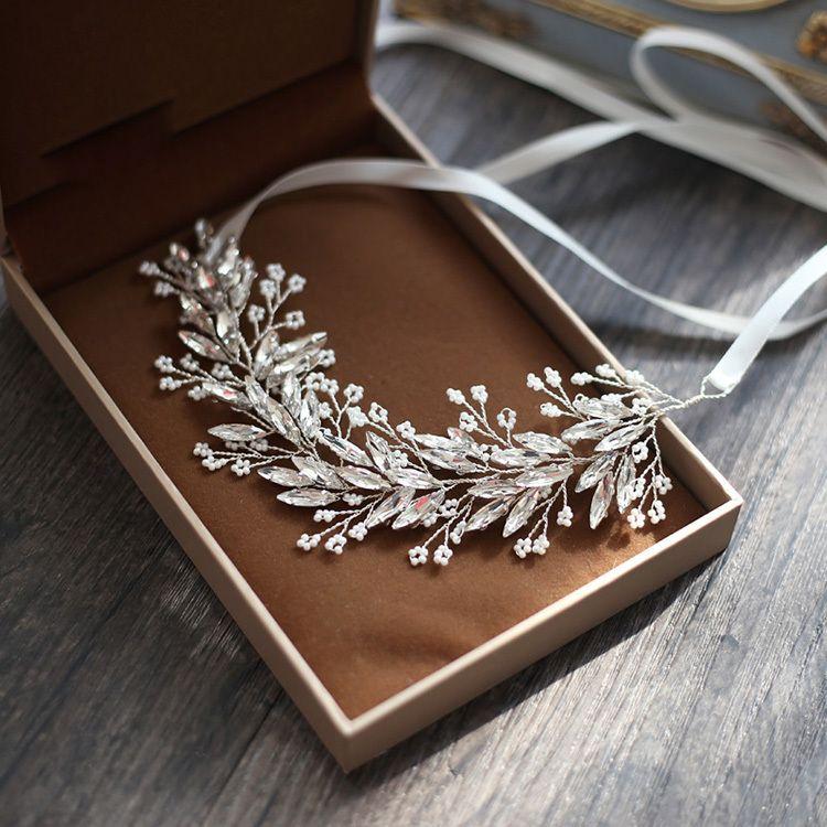 Slbridal Handmade Silver Crystals Rhinestones Tree Branch Shaped Wedding Headpieces Hair Vine Bridal Headband Hair Accessories Y19051302