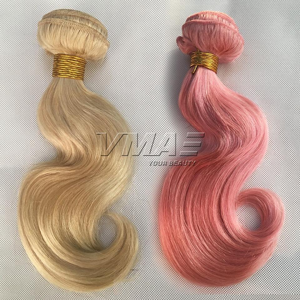 Body Wave Pink 613 Blonde Color European Human Hair Weft 3pieces/pack 100g/piece 100% Virgin Human Hair Weaves