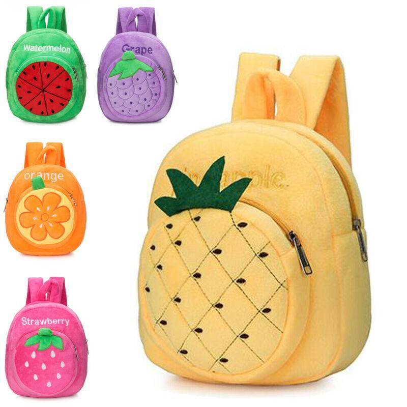 Bebek Bebek Çocuk Erkek Kız Sevimli Meyve Ananas Fermuar Mini Sırt Çantası Bebek Peluş Pamuk Anaokulu Okul Çantası Sırt Çantası