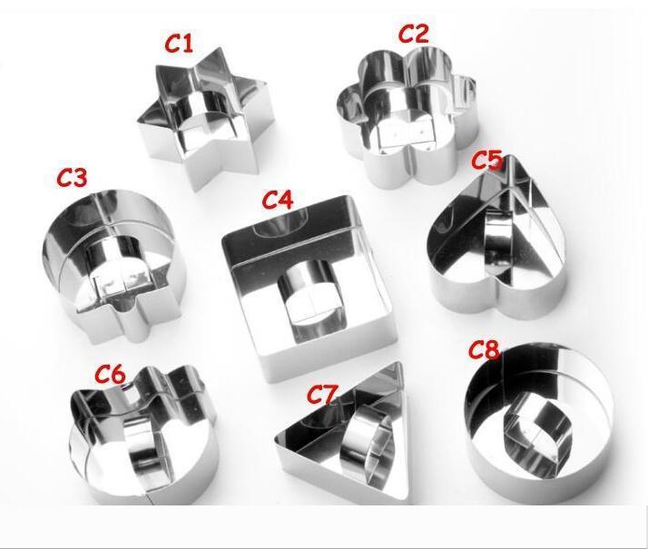 Mini-Mousse-Kuchen-Form Edelstahl-Quadrat-Runde Herzform Kuchen Mousse-Form Mousse Ring Küchen-Backen-Werkzeug DHL-freies 777