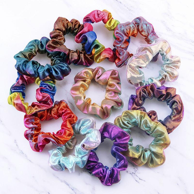 Women Elastic Hair Band Scrunchie Hair Ropes Girls No Crease Laser Radiation Colorful Ties Ponytail Holder Accessories
