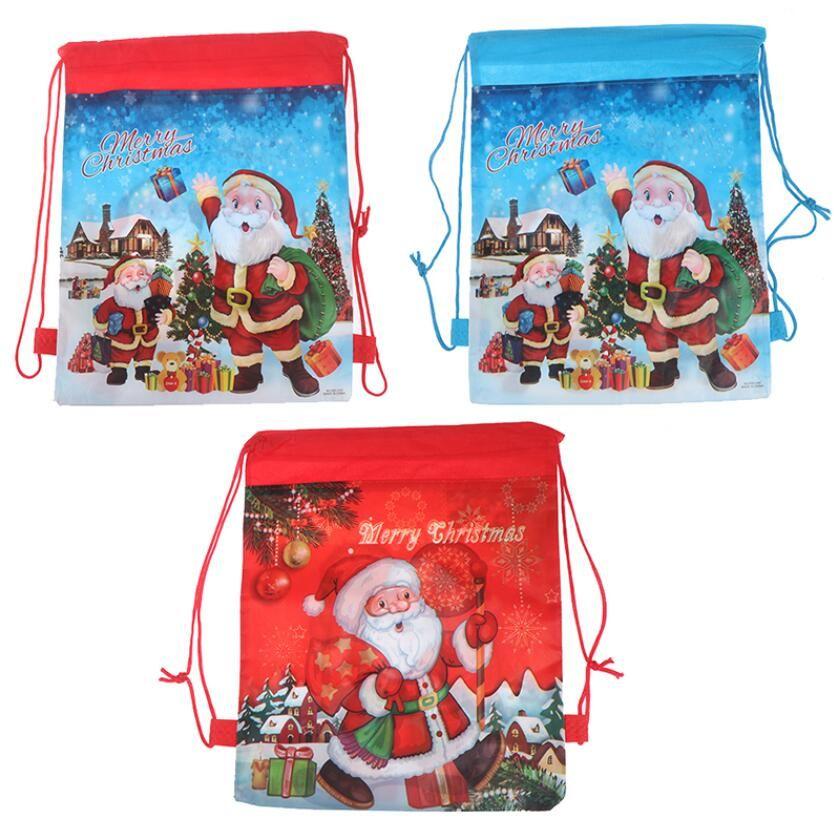 Non-tissé de vacances Sacs à dos cadeaux cadeau de Noël réutilisable Détenteurs d'enfants fourre-tout XMAS Party Favor Sac présent stockage pellicule rouge bleu