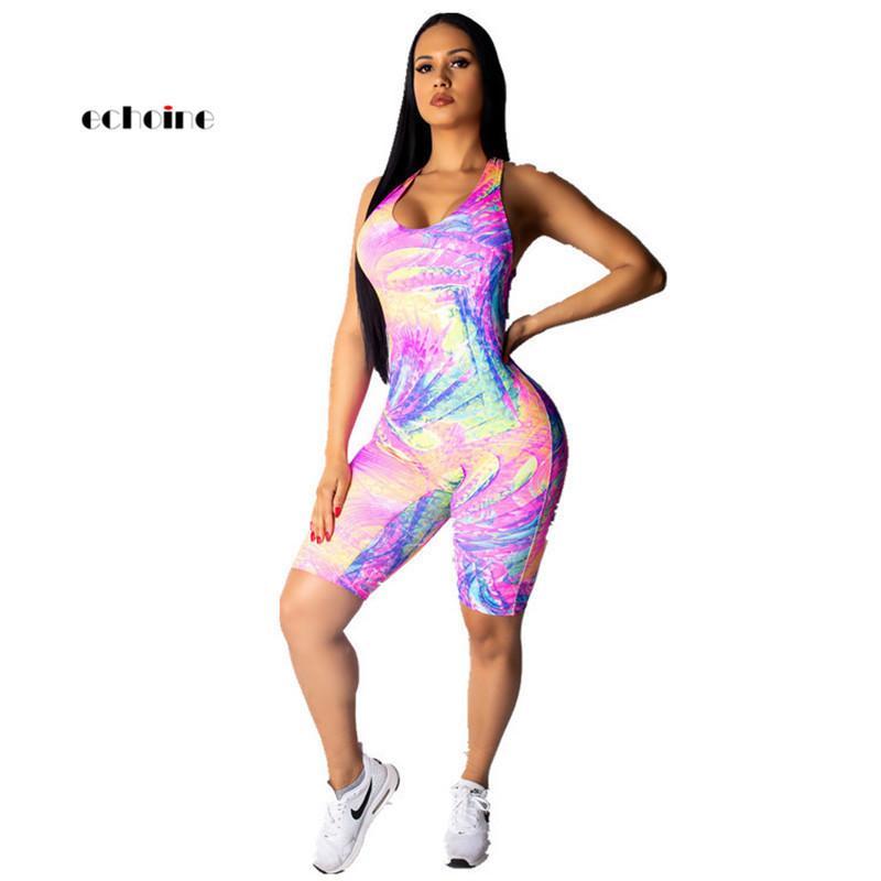 Echoine 여성 섹시한 점프 슈트 넥타이 염료 인쇄 견장 크로스 오프 숄더 다채로운 배킹 패션 Playsuit 캐주얼 탄성 Rompers Y19051601