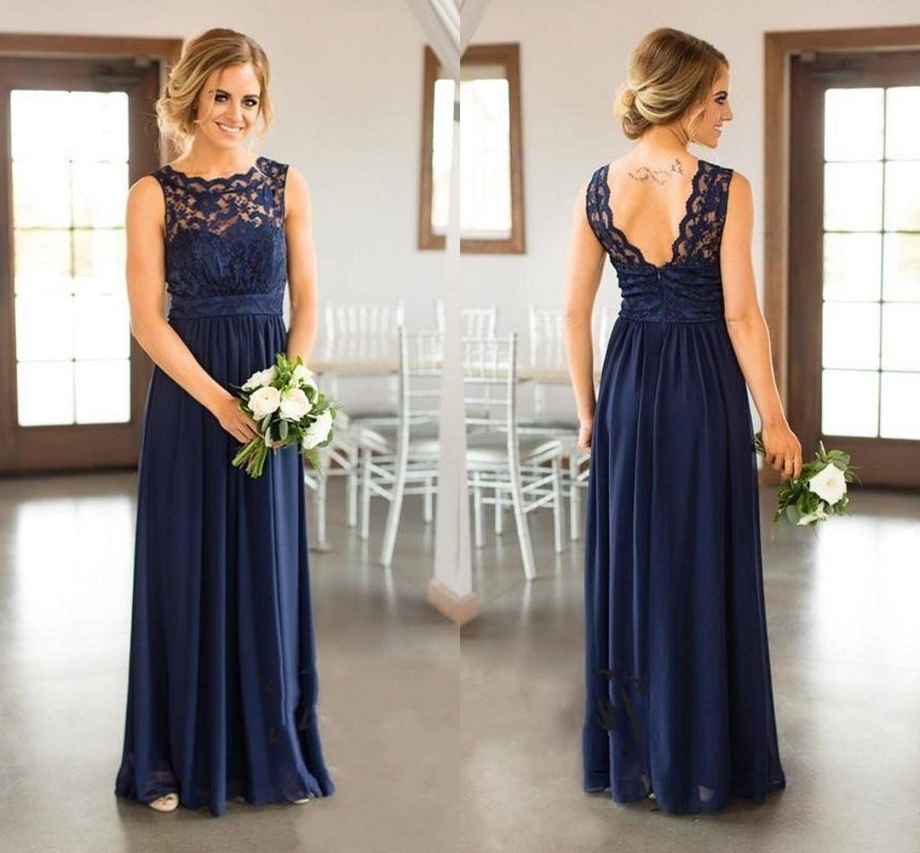 Nuevos vestidos de dama de honor de encaje azul marino para la boda del país una línea de joya larga gasa bohemia verano playa fiesta vestidos de noche DH258