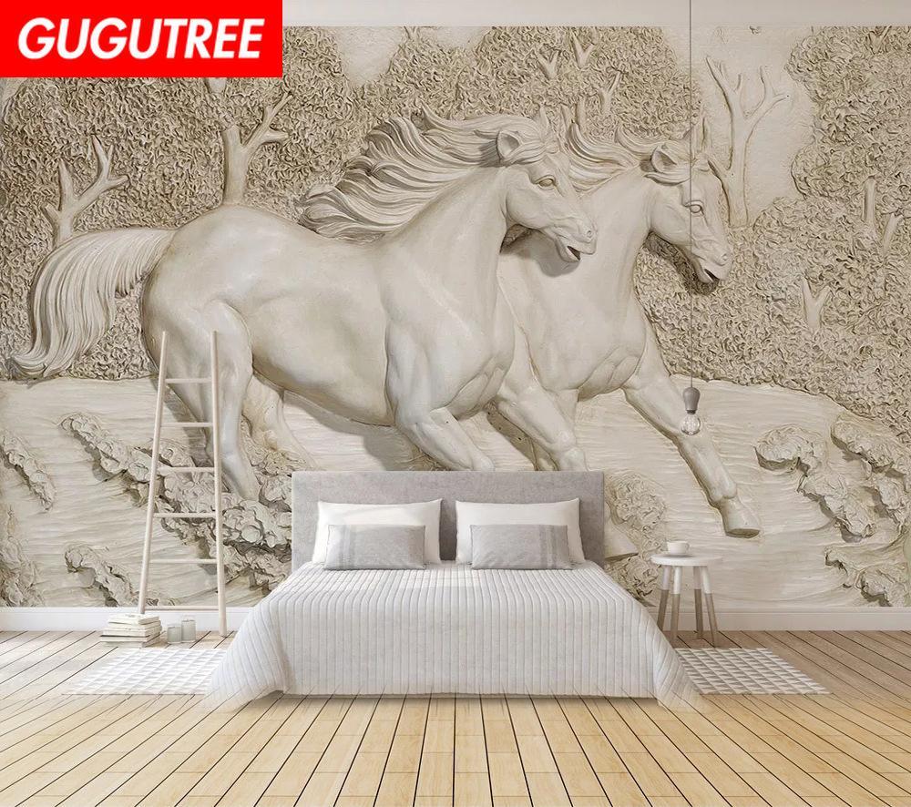 Decorate home 3D mural horse cartoon art wall sticker decoration Decals mural painting Removable Decor Wallpaper G-2447