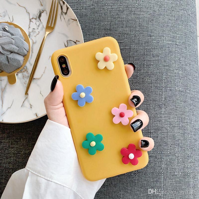 Mytoto Lindo 3D Flores caja del teléfono para el iphone XS Max XR X cubierta para el iphone 6 6s 7 8 más la moda INS patrón floral suave Volver casos Capa