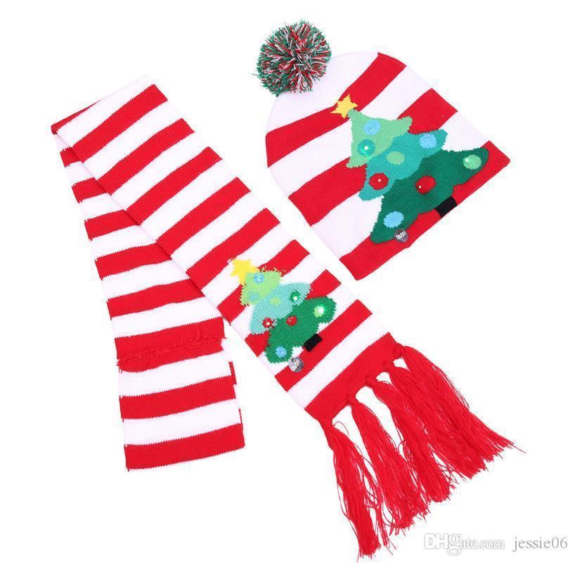 hasta luz intermitente sombrero de punto bufanda adulta niño fiesta de Navidad LED bobble el sombrero caliente del invierno de la gorrita tejida de los sombreros de tapón de llenado de Santa de almacenamiento del regalo de Navidad