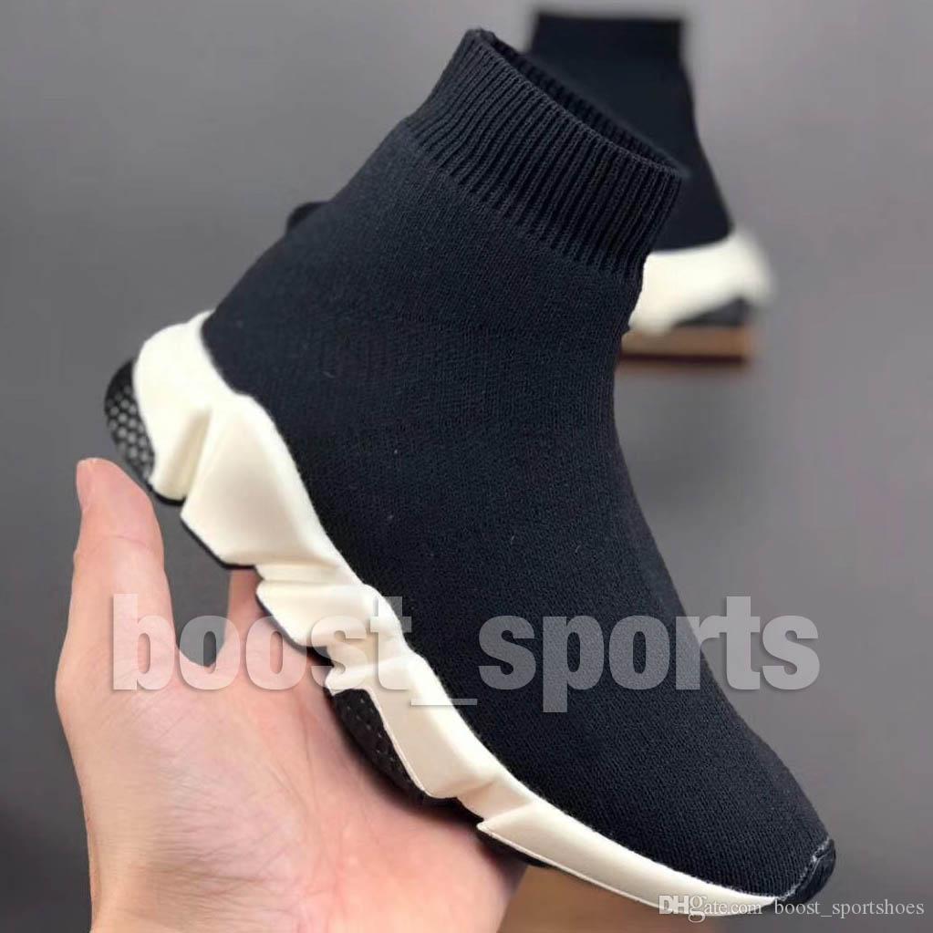 New Kids enfants Speed Slip-On Sneaker Noir Bébé Garçons Filles Fashion Designer Triple S Sock Blanc Hi Chaussures Casual Eur24-35