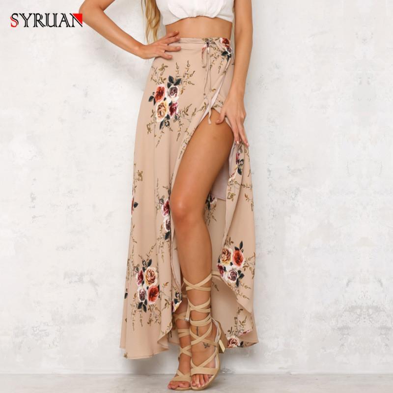 рынк лето Vintage цветочные пляж длиной макси юбка дамы высокой талии сексуальный горячий BOHO Нерегулярное Chiffion платье моды большого размера