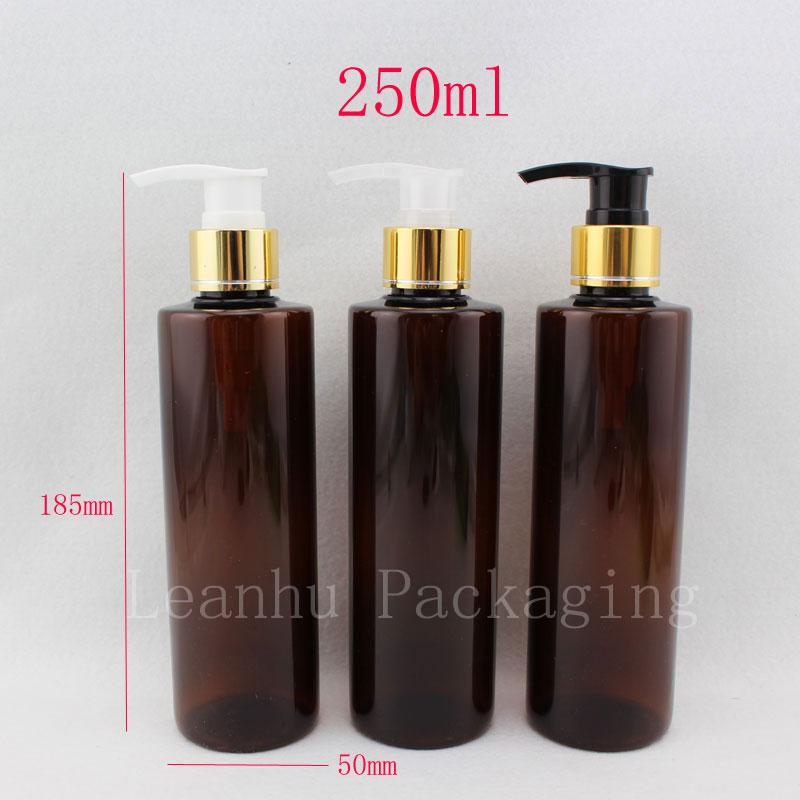 250ml X 20 amber color round empty PET plastic lotion bottles ,brown shampoo cream dispenser bottle ,cosmetic pump containers