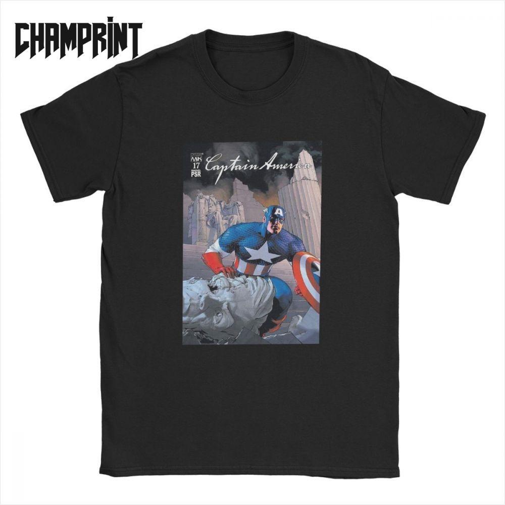 Kaptan Amerika çizgi T Shirt Erkekler% 100 Pamuk Vintage Tişörtler Crewneck Tees Kısa Kollu Tops Artı boyutu 4XL 5XL 6XL