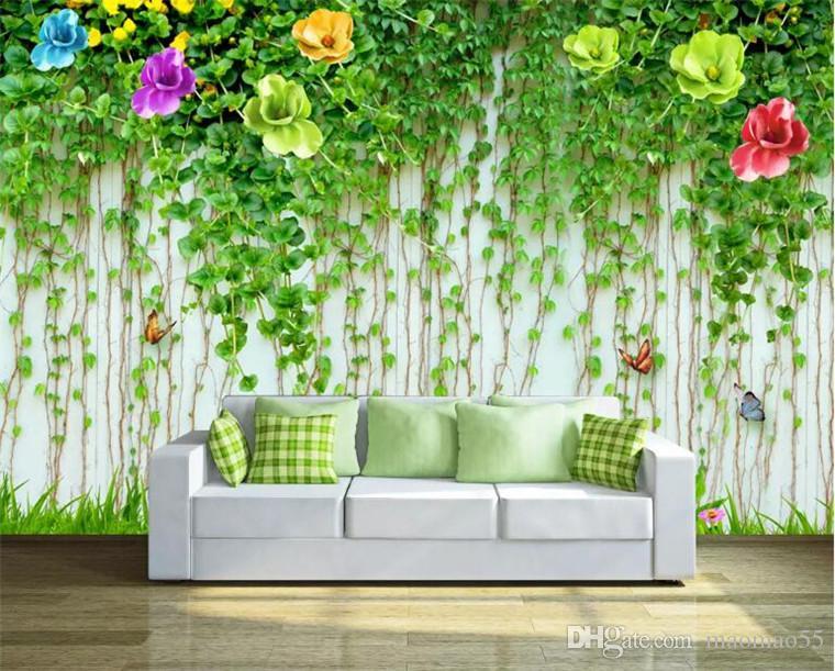 Custom mural wallpaper 3D embossed green vine flowers abstract art wall decoration cafe restaurant living room bedroom wallpaper 8 D.