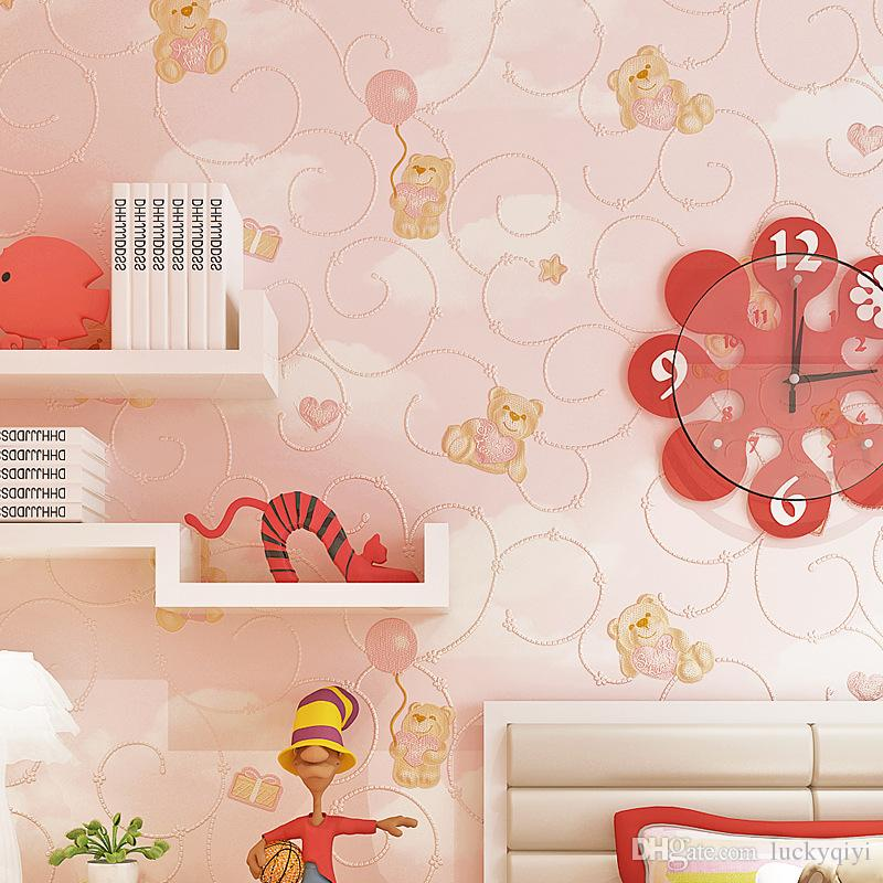 Dibujos animados del oso 3D delicada protección del medio ambiente decorar la habitación de los niños en relieve del papel pintado papel pintado de niño dormitorio linda chica de vuelta de TV no tejida