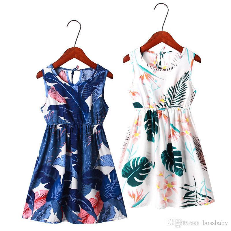 Ins niñas vestido floral 11 colores Las muchachas grandes impresa flor del chaleco de una línea de vestido de los niños casual ropa de niñas Trajes para niños pequeños vestidos 3-9T venden 060316