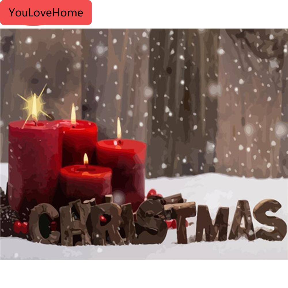 Las imágenes son de Números de Navidad Kits lienzo de dibujo pintado a mano para colorear pintan arte regalo la decoración del hogar