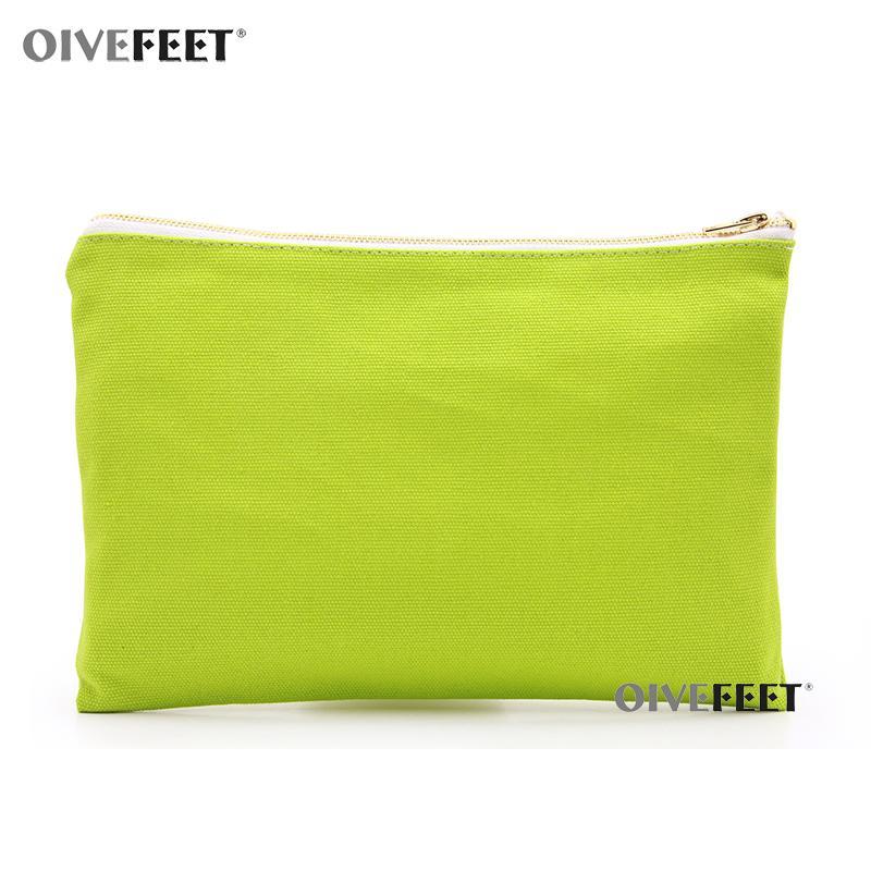 OIVEFEET, Plaine Herbe Sac cosmétique 16 oz vert en toile de coton Maquillage Voyage d'or Toiletry Fermeture éclair Sac pochette, 8 couleurs disponibles