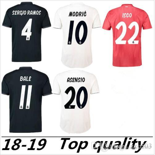S-2XL ريال مدريد 2018 2019 لكرة القدم جيرسي مودريتش MARIANO أسنسيو VINICIUS JR BALE RAMOS 18 19 ريال مدريد لكرة القدم قميص ISCO Camiseta