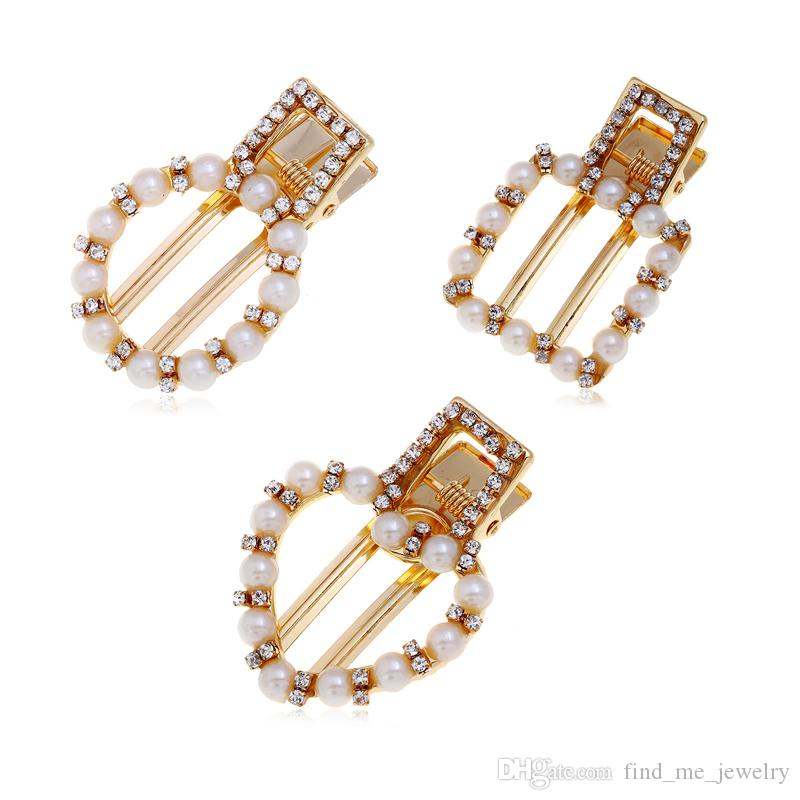 Hollow Alloy Square Round Heart Barrettes Gold Plated Rhinestone Hair Clip Women Fashion Imitation Pearl Hair Jewelry Accessories Wholesale