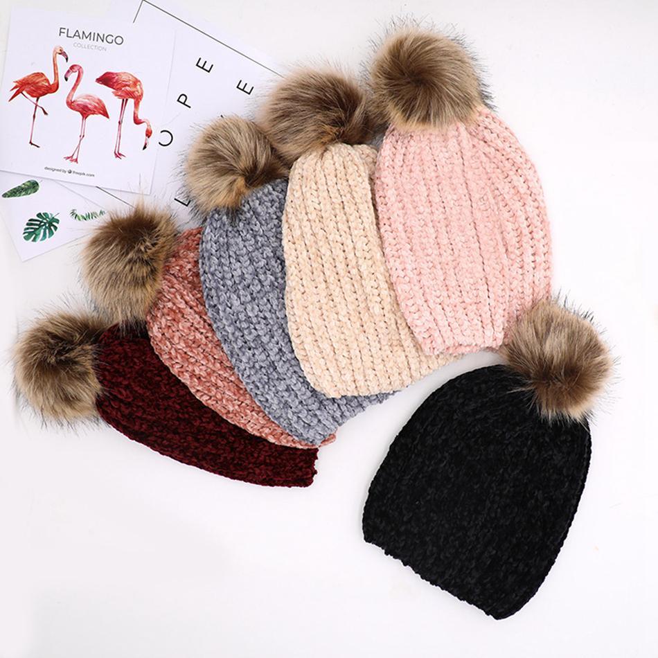 Hiver femmes Tricoté Pom Pom Beanies fourrure balle chapeau chaud laine unisexe Crochet Skull Beanie Femme Casquettes Outdoor LJJA3473-13