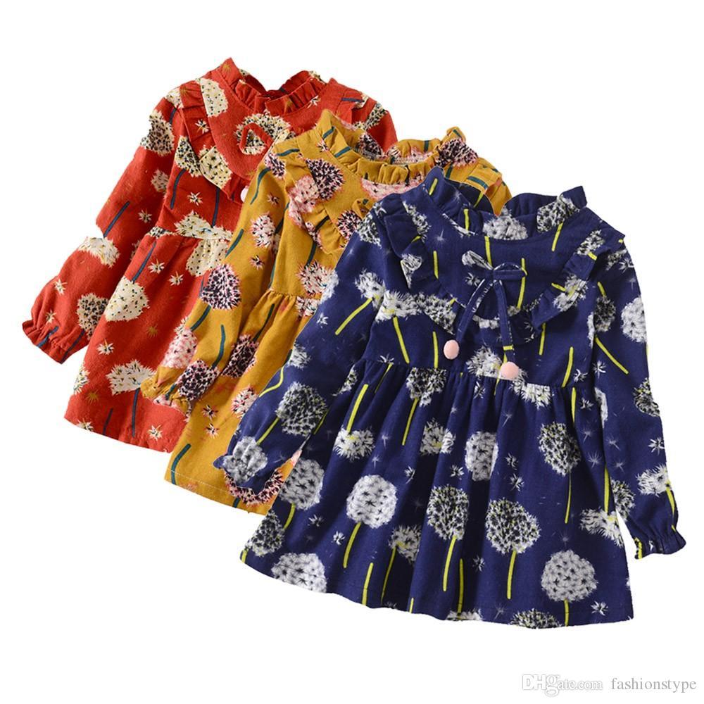 طفل رضيع الفتيات اللباس طويلة الأكمام الأزهار زهرة طباعة اللباس فتاة زي ملابس للبنات فساتين الاطفال