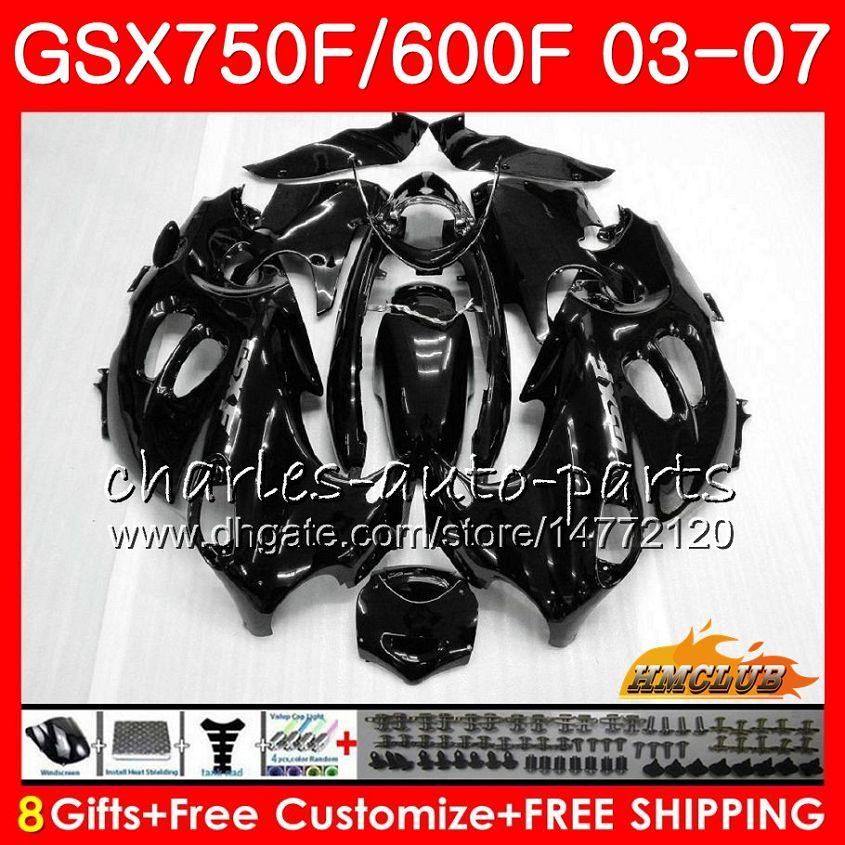 Kropps kit för Suzuki Katana GSXF600 GSXF750 03 04 05 06 07 3HC.0 GSX750F GSX600F GSXF 750 600 2003 2004 2005 2006 2007 Fairing Glossy Black