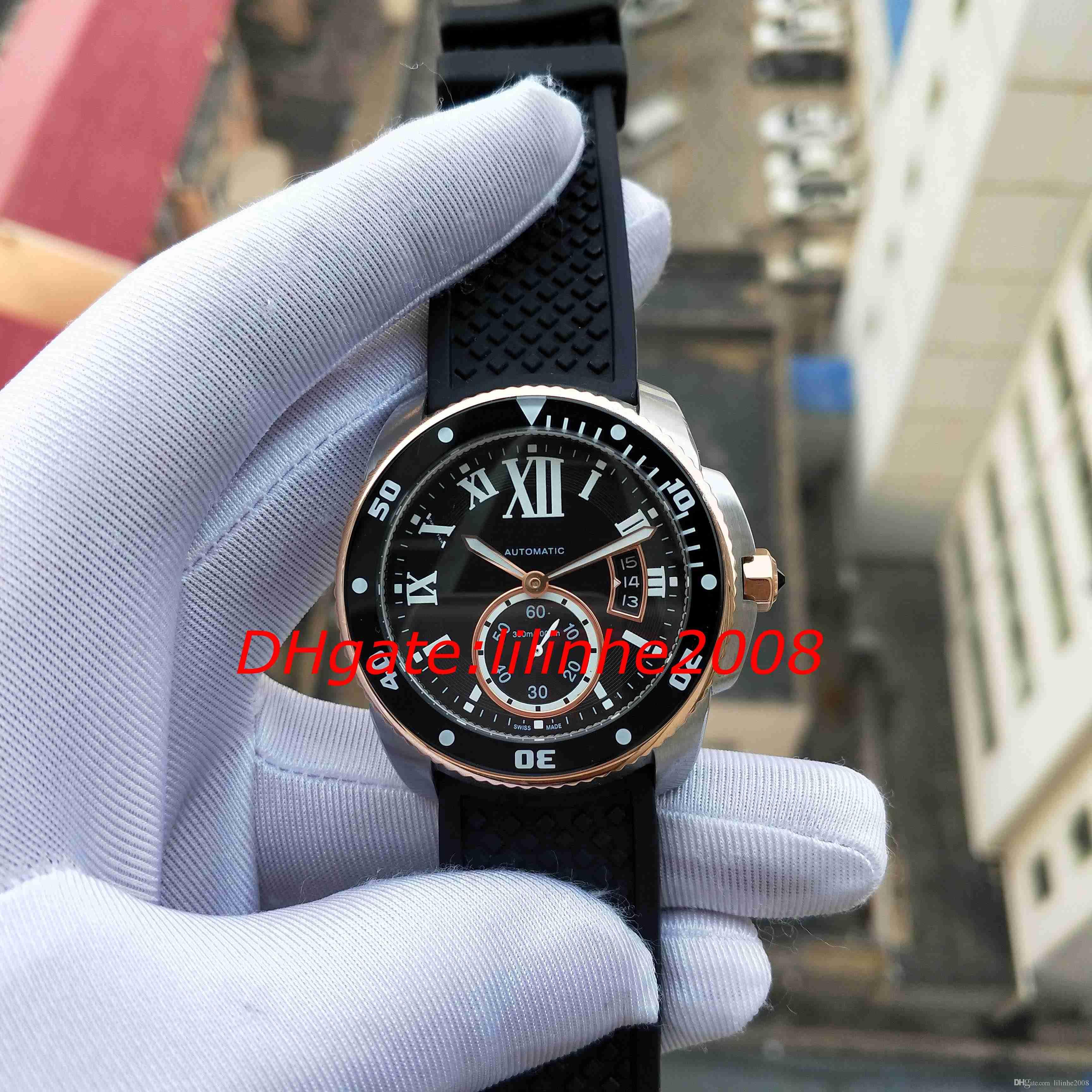 4 estilo de alta qualidade assista fotografias CALIBRE DE série W7100055 Assista Watch Rubber Strap data de movimento automático 42MM Mens Mens Relógios