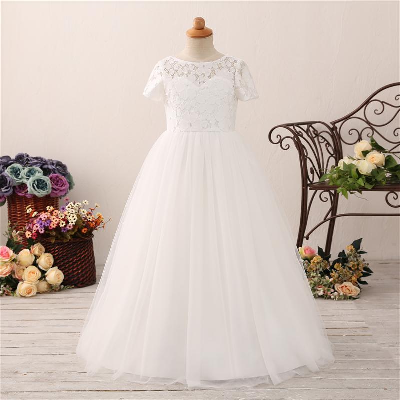 Довольно Scoop A-Line девушки цветка платья девушки с рукавами длиной пола Кружева Аппликации Открыть Назад Белое платье для свадебного банкета