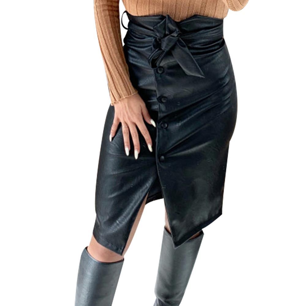 Cuir fendu l'ourlet avant Jupe Femmes Bouton Belted Noir Pu cuir Jupe taille haute Casual Jupe crayon Femme gothique Faldas 30 CJ200326