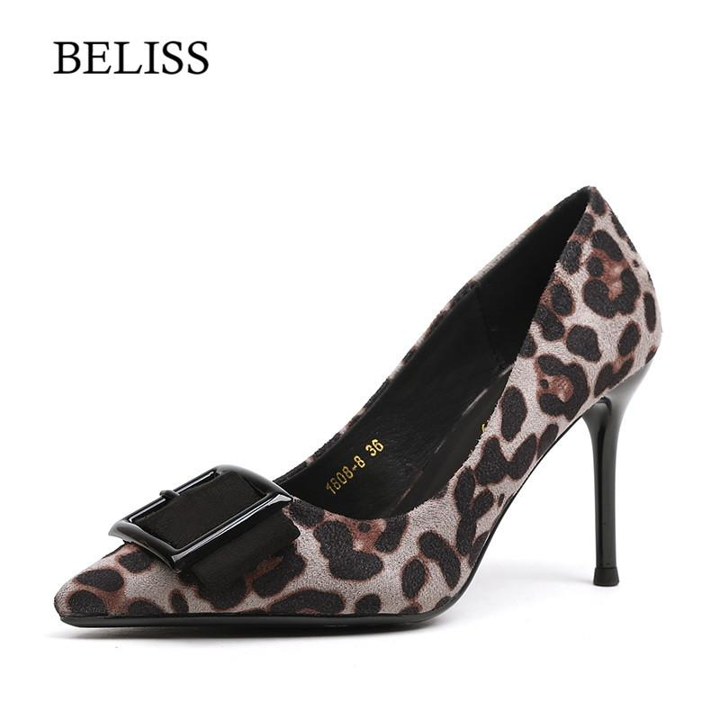 BELISS New Fashion Women Pumps Leopard High Heel Sexy Women Pumps Pointed Toe Female Dress Party Shoes Slip-on Shallow X20