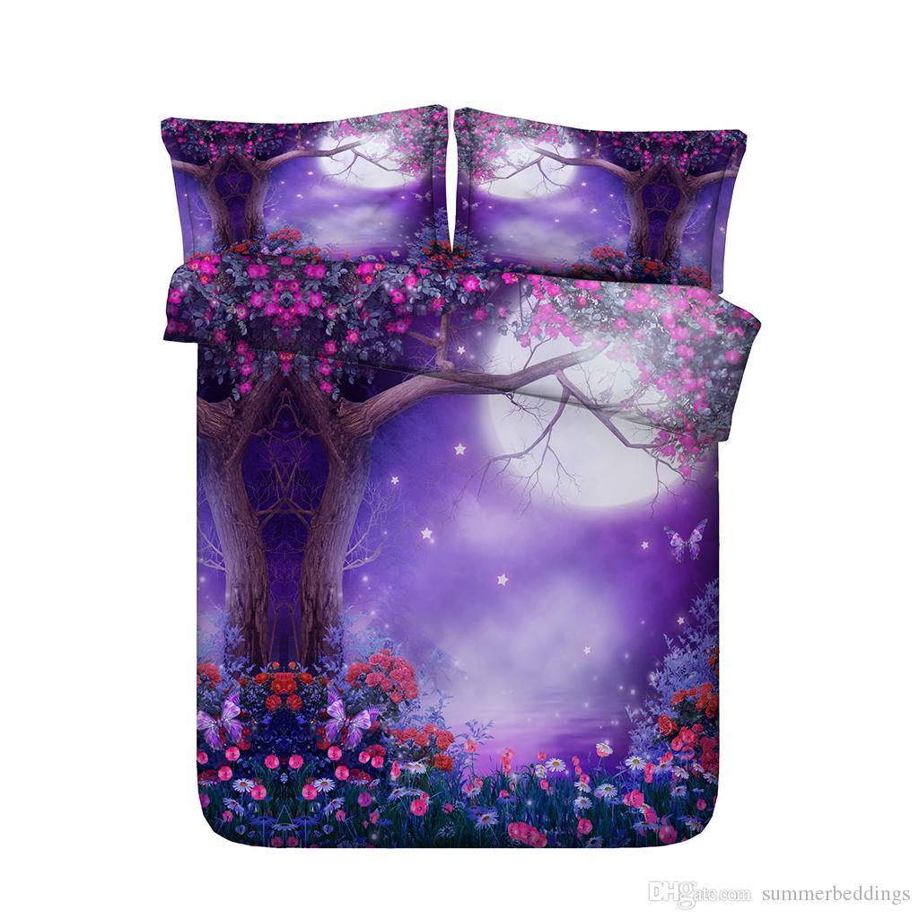 Purple duvet Girls Kids Floral Print Bedding Galaxy Bed Set Comforter Cover Moon Bedspread Starry Night Stars Coverlet Tree Duvet Cover