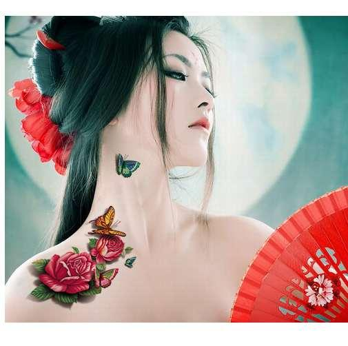 Curso De Tatuador Nova Impressão Digital 3d Tatuagem Adesivos Dos Desenhos Animados Borboleta Flor Tatuagem Adesivos Personalizados 60 à Prova D água