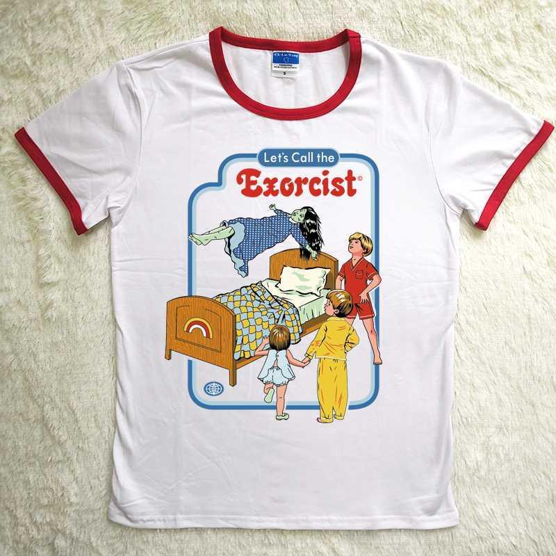 Хилбилли Harajuku Футболки женские 80S 90S назовём Экзорцист Смешные Горячие продажи футболки Red шеи полиэстер Spandex Мягкая тройники