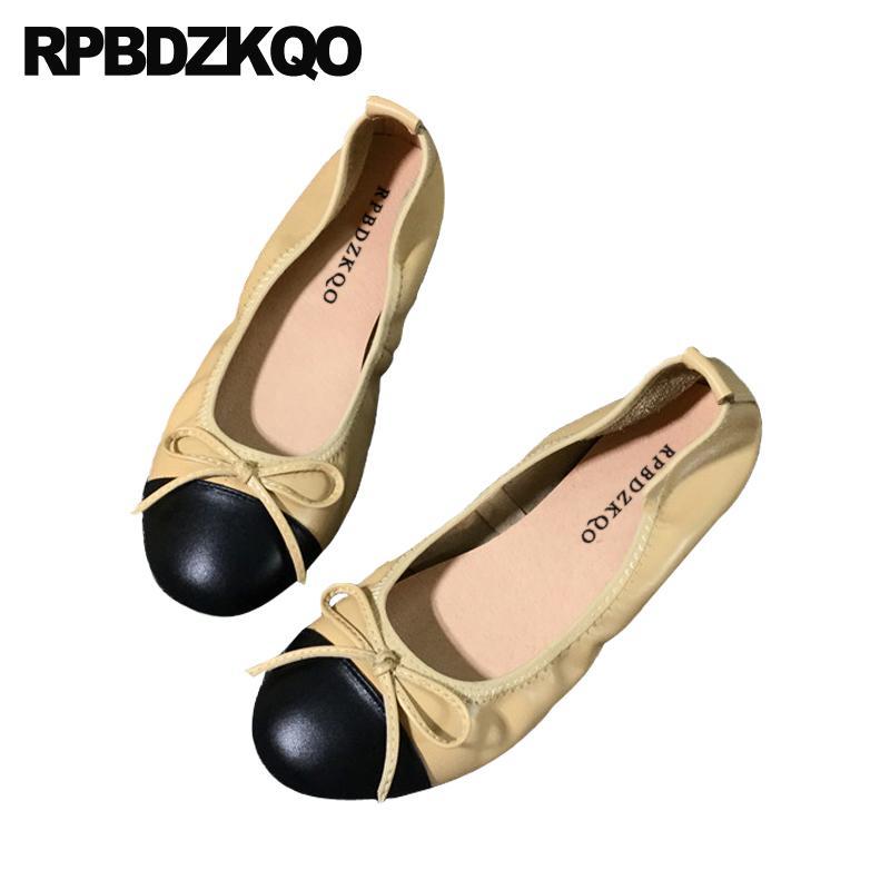 Mulheres Round personalizados toe senhoras arco chineses de grande porte dobráveis sapatilhas sapatos de bailarina 2019 deslizamento confortável em