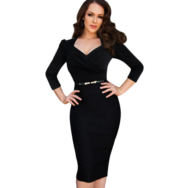 Lcw New Design Womens Vintage Sexy Ruched V Neck Pinup Tunic Belted Slim Business Casual Work Party Sheath Bodycon Pencil Dress