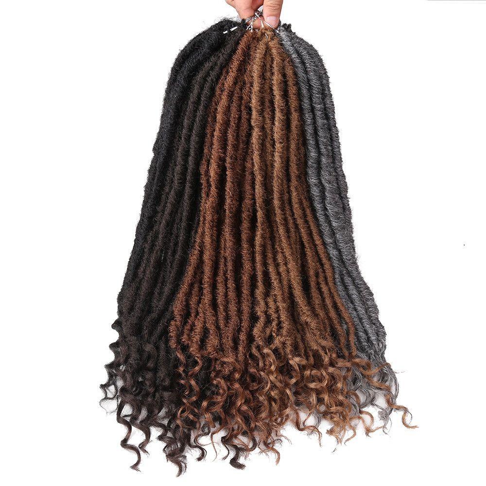 20-дюймовая богиня Искусственные островки вязания крючком оплетки натуральные синтетические наращивание волос / упаковки из искусственных игр с вьющимися концами