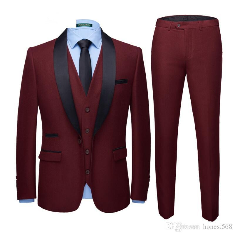 Handsome Shawl Lapel Groomsmen One Button Groom Tuxedos Men Suits Wedding/Prom/Dinner Best Man Blazer(Jacket+Pants+Tie+Vest) 102