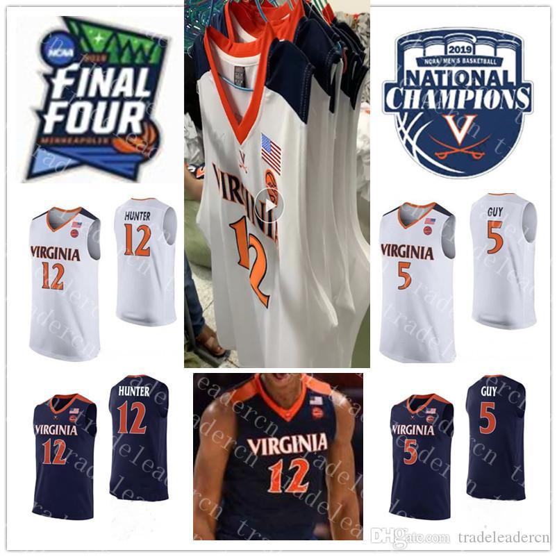 Чемпионы 2019 года 12 De'Andre Hunter 5 Джерси Кайла Гая Финал NCAA Финал четырех мужских темно-синих белых кавалеров Вирджинии Колледж Баскетбольные майки XXXL