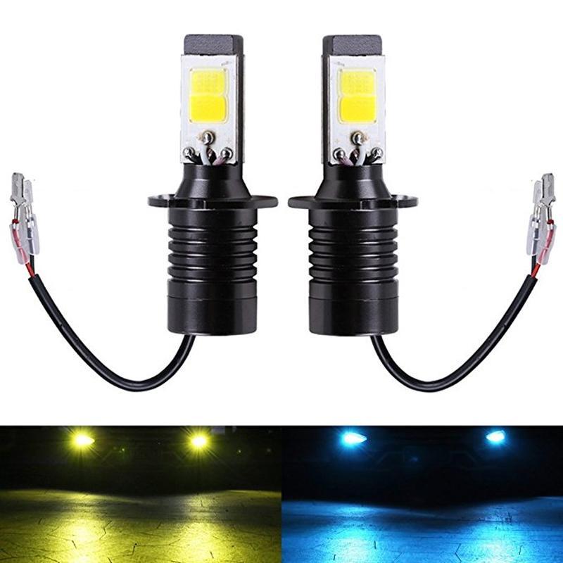 2PC H3 LED Ampuller Çift Renk Oto Sis Sürücü DRL Lamba H3 Araba Beyaz Sarı Buz mavisi farları