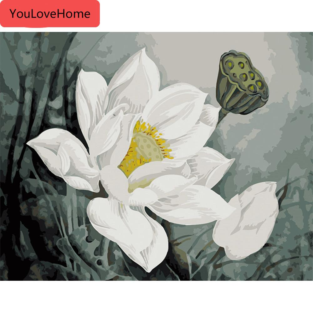 Picture By Numbers Lotus Flower Handpainted Art Dawing On Canvas Oil Painting Kits Diy Home Decoration Gift wall art DIY Picture Art Kits