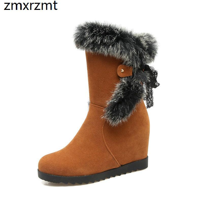 2019 nuevas mujeres dulce tobillo botas para la nieve de 7 cm de altura de las mujeres Incrementando los zapatos para mantener el calor en invierno zapatos casuales de gran tamaño 34-43