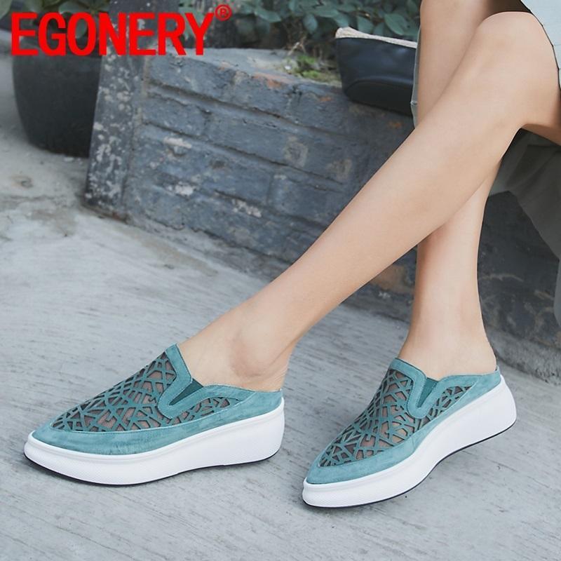 EGONERY vente chaude femme chaussures été nouvelle mode bout pointu kid suède femme pantoufles en dehors des talons hauts plateforme dames chaussures