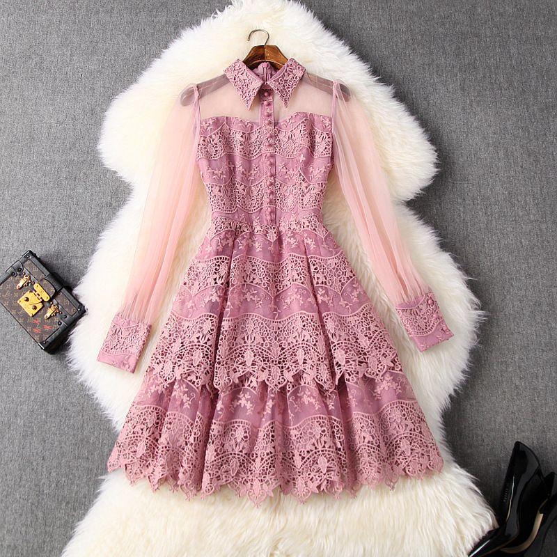 2020 весна лето розовый с длинным рукавом нагрудные Neck Цветочные печати Кружева Пуговицы панелями однобортный способа платья Повседневные платья LM0914T10656