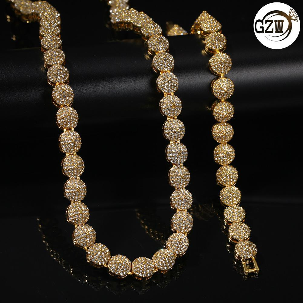 New Fashion Bling Diamond Cone Mens Gold Plated Chain Necklace Hip Hop Rapper Rhinestone Choker Chains Jewelry Gifts for Guys Men for Sale
