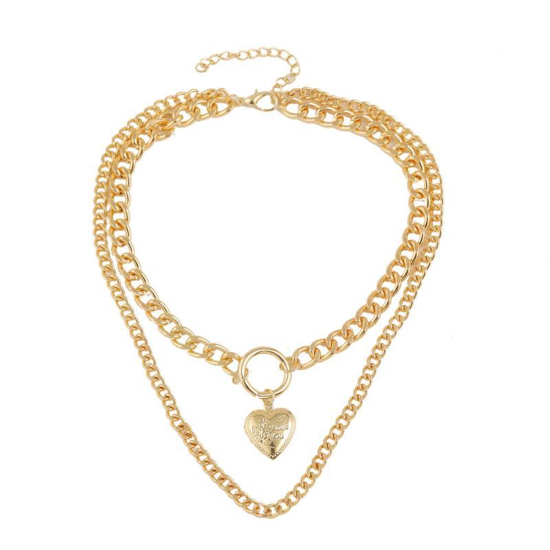 Дизайнерский замок сердце красота ожерелье ювелирные изделия преувеличенная мода трехуровневая роскошь дизайнер ювелирные изделия женщины ожерелье простой подарок