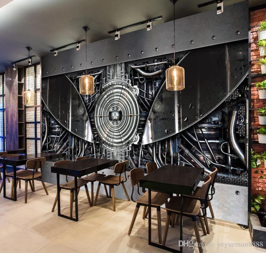 방 금속 기계 바 벽지 금속 3D 배경 화면 생활에 대한 사용자 정의 3D 사진 벽 벽화 벽지