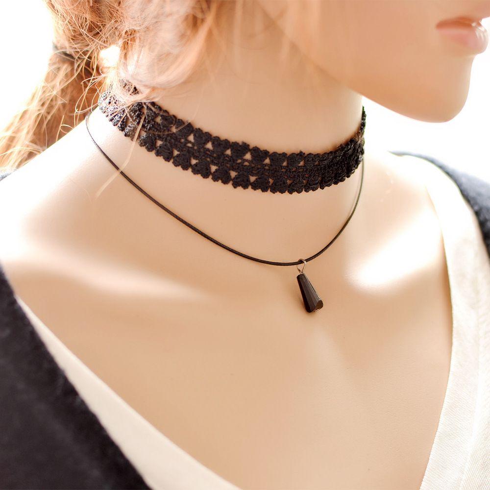 Готика Стиль Vintage Выдалбливают Модные Кружевные Ожерелья Заявление Колье Красоты многослойные Крест кружева ожерелье свадебное ожерелье