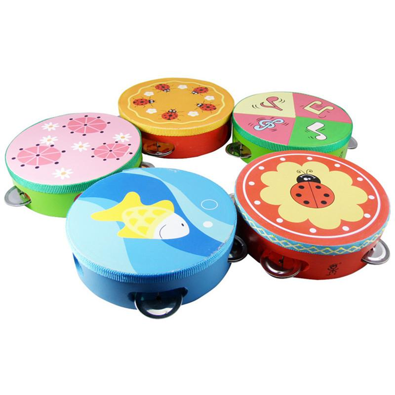 Cartoon Wooden Hand Drum Rattle Tambourine Baby Early Educational Toys for Kids Children Musical Instrument Games Gifts
